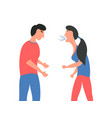 violence in family the girl screams at the guy vector image vector image