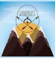 wanderlust aventure with landscape and explorer vector image vector image