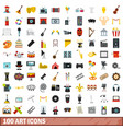 100 art icons set flat style vector image vector image