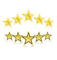 5 golden stars on white background vector image vector image