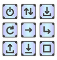 a set of 9 icons for the device menu in the frame vector image