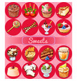 a set of delicious desserts and festive food vector image vector image