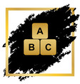 abc cube sign golden icon at vector image