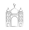 arabic castle tower with moon vector image vector image