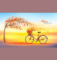autumn background with a tree and a bike with vector image vector image