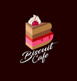 b logo biscuit cafe piece cake cream cherry vector image