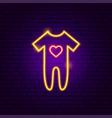 baby romper suit neon sign vector image