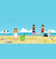 beach garbage vector image
