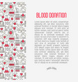 blood donation concept contains seamless pattern vector image vector image