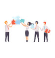 business team office colleagues connecting puzzle vector image vector image