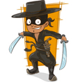 Cartoon man in black mask with swords vector image vector image