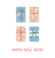 christmas greeting card with four gifts on white vector image vector image