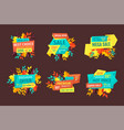 discount and sale logos set with autumn leaves vector image