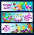 easter bunny banners egg hunt religion holiday vector image vector image