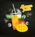 fresh mango juice on blackboard background vector image