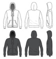front back and side views blank hoodie vector image