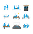 Gay set of silhouettes LGBT love blue people in vector image vector image
