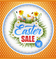 happy easter with eggs and a background frame vector image vector image