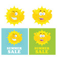 happy yellow sun character collection vector image vector image