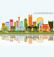 johannesburg skyline with color buildings blue vector image vector image