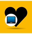 laptop icon like heart social media vector image vector image