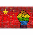 lgbt protest fist on a china brick wall flag vector image vector image
