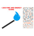 match fire icon with bonus flame clipart vector image