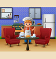 men in chefs clothing serve food at the dining tab vector image vector image