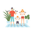 mother father and son exercising with dumbbells vector image