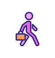 moving man with working suitcase icon vector image vector image