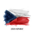 realistic watercolor painting flag czech vector image vector image