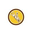Rodeo Cowboy Bull Riding Retro Circle vector image vector image