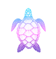 Sea turtle in line art style Hand drawn isolated vector image