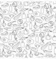 seamless pattern of flat food and drink vector image