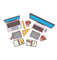set computer and laptop with elements graphic vector image
