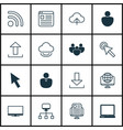 set of 16 internet icons includes display login vector image vector image