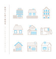 set of buildings icons and concepts in mono thin vector image vector image