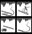 set snowboarding background mountains and vector image