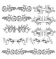 set vintage vignettes with leaves and ribbons vector image