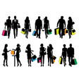 several people silhouettes in shopping center vector image vector image
