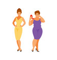slim and thick women vector image