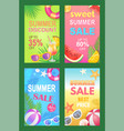 summer discounts seasonal set vector image vector image