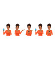 surprised african woman set with phone vector image vector image
