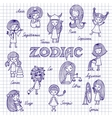 The zodiac on the notebook sheet vector image