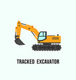 tracked yellow excavator icon construction vector image