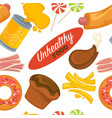 unhealthy food and ingredients fatty products vector image