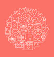 valentine day round concept with love icons in vector image vector image