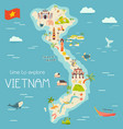 vietnam cartoon map with destinations elements vector image vector image