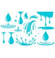 water drop splash and spray set icons vector image vector image