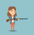 young caucasian hunter holding a hunting rifle vector image vector image